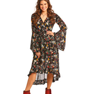 Rock & Roll Cowgirl Floral Print Hi Low Dress